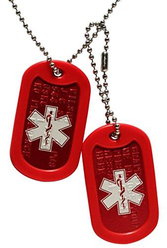 Rote Notfallmarken: 2 personalisierten Erkennungsmarken im Armeestil mit Kugelkette & - Militärische Tags Personalisierte Dog