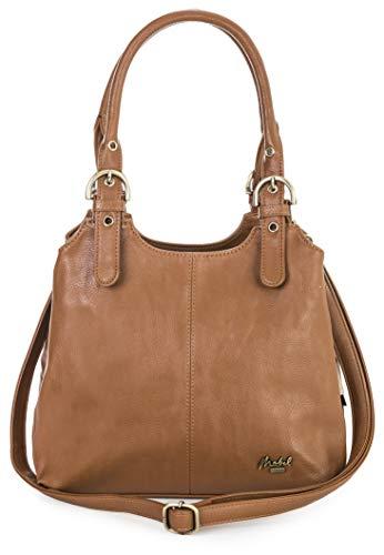 Big Handbag Shop Mehrfachtaschen Mittlere Größe Umhängetasche/Schultertasche für Frauen - Mit langem Schulterriemen und eine kleine Taschencharme (Braun (Medium) (Plain S107)) - Medium Armband