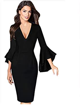 Bekleidung Loveso Kleid Sommerkleider Herbst Kleidung Einfarbig Damen Kleid V Ausschnitt Langarm Elegante Abendkleid...
