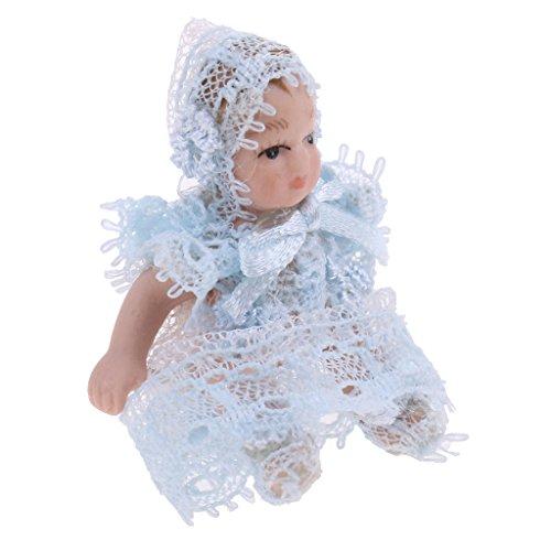 Homyl 1/12 Puppenhaus Miniatur Porzellan Puppe Babypuppe in Spitzenkleid & Hut Dekofigur Sammlerfigur - Blau