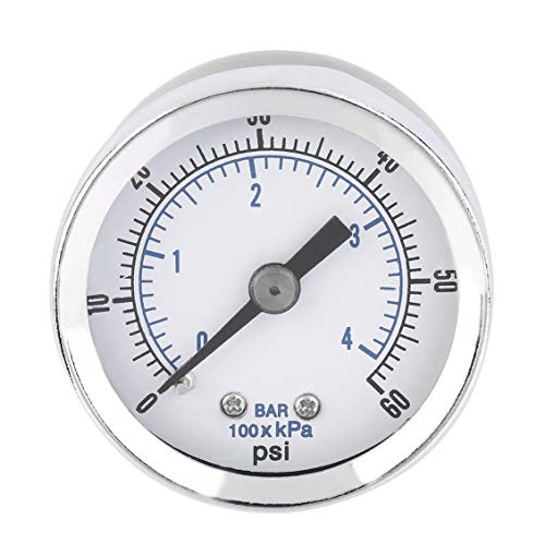 ForceSthrength 1/8'' NPT Air Compressor Hydraulic Pressure Gauge 0-60 PSI Back Mount -