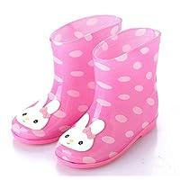 Unisex Kids,Cartoon Classic Toddler Boots Kids Children Rain Shose PVC Rainy Season Waterproof Non-Slip Rubber Boots Galoshes Rabbit Animal Pink Frog Waterproof Shoes,27