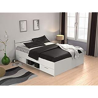 möbelando Kompaktbett Doppelbett Bettgestell Bett Bettrahmen Funktionsbett Lorenzo I Perle Weiß