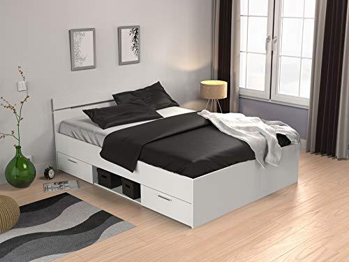 014db5134a möbelando Kompaktbett Doppelbett Bettgestell Bett Bettrahmen Funktionsbett  Lorenzo I Perle Weiß