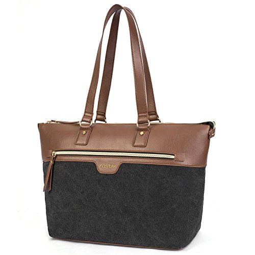 FOSTAK Damen Umhängetasche Business Tote Bag Handtasche Stilvoll Shopper Tragbar Schultertasche / 15.6 inch Laptop Tasche für 15-15,6 Zoll Notebook/MacBook, Canvas Schwarz