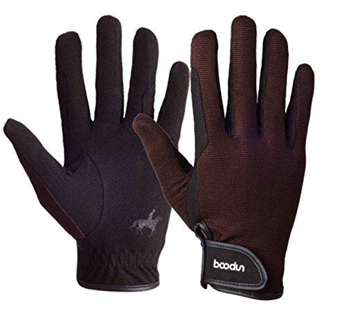 Letook BOODUN Reithandschuh-Professional Tragbar, Atmungsaktiv und Bequem Unisex Schwarz REIT Handschuhe Herren Damen(Braun,L)