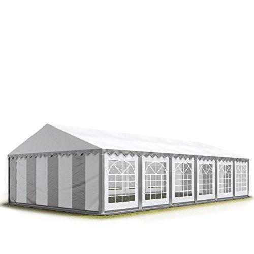 TOOLPORT 6x12 m Tente de Réception/Barnum Gris-Blanc Toile de Haute qualité 500g/m² PVC Economy INTENT24