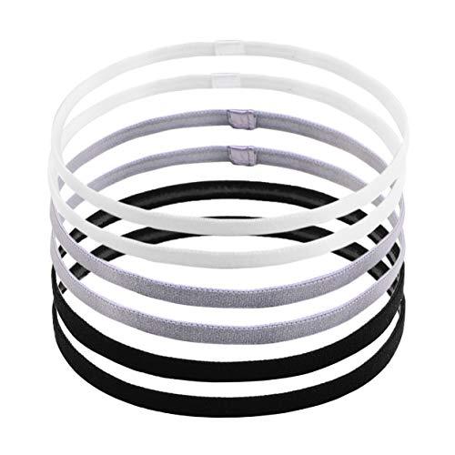 labota 6 pezzi non-scivolo sport fasce capelli elastico per football, basket, calcio, tennis, yoga e golf (nero, bianco e grigio)