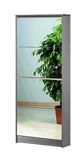 Esidra Scarpiera 4 Ante, Legno + Specchio, 62 x 184 x 18 cm