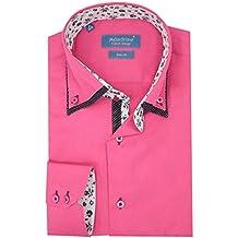 Meadrine Chemise Homme Slim Fit Rose Fushia Double col contrasté à Fleurs 89d856466b9a