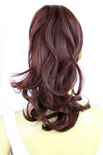PRETTYSHOP Voluminöses Haarteil Hair Piece Pferdeschwanz Zopf Ponytail ca 35cm diverse Farben (dunkelrot H106_99) -