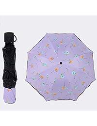 Flytian Paraguas Plegable De Encaje Parasol 8-Bone 3-Etapa Mano Abierta Paraguas UPF50