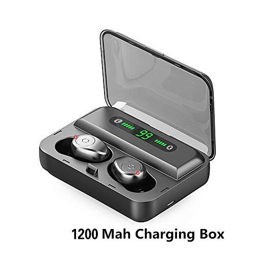 Codream YANXU F9 kabellose Kopfhörer, Bluetooth 5.0, HiFi-Stereo-Sound, IPX68, wasserdicht, Drucksteuerung, 4 Stunden Spielzeit + 150 Stunden erweitertes In-Ear-Drahtloses Auflade-Etui für Laufsport