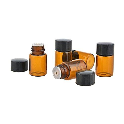 HugeDE 25 Stück Klein Leer Glasflaschen Braunglasflasche Ätherisches Öl Flaschen 3ml