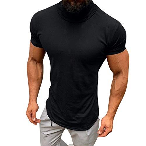 Proumy 2019Neu Herren Rundhals T Shirt,Mode Einfarbig Rollkragen Shirt Sommer Einfache Persönlichkeit Slim Fit Atmungsaktivt Kurze Ärmel Tee Männer Tops (M, Black)