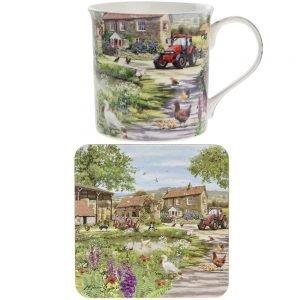Yard feines Porzellan Tasse und Untersetzer Set ()