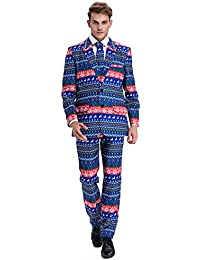 YOU LOOK UGLY TODAY Mens Christmas Suit Party Funny Novelty Xmas Jacket Costume, Ugly Christmas Suit Outfit-Regular Fit