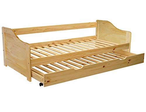 KMH®, Massivholz Ausziehbett/Jugendbett/Kinderbett/Kojenbett mit ausziehbarem Bettkasten, incl. 2 Lattenroste (200 x 90 cm/Natur) (#201100) -