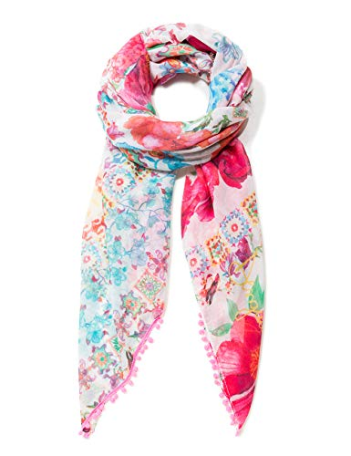 Desigual Damen Schal Rectangle Foulard Geisha Woman White, Weiß (Soybean 1028), One Size (Herstellergröße: U)