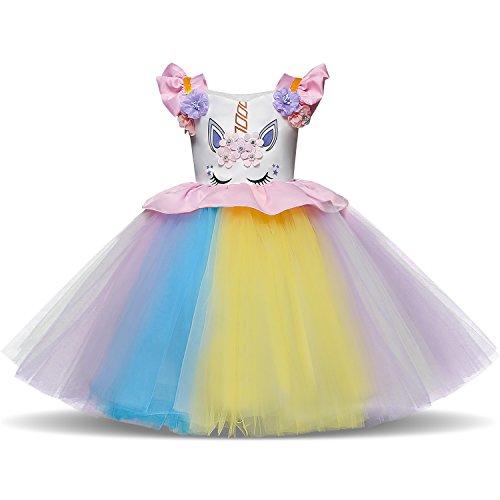 NNJXD Girls Unicorn Tulle Rainbow Birthday Cosplay Party Fancy Flower Princess Dress