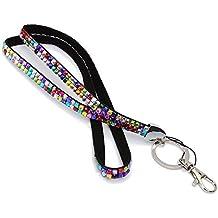 jooks Colorful Bling correa de mosquetón con correa para seguridad Llavero Holder Diamonte cristal cuello tarjeta