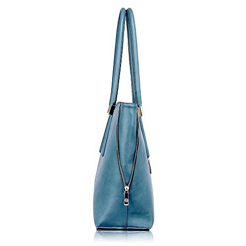 Damen Greifen Tasche Damen Designer Faux Leder Handtasche Mit Gold Metall Arbeit Und Fein Stitching Oben Reißverschluss Schließung Mit Polka Punkte Stoff innen Blau