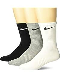 Nike Lightweight Crew, Pack de 3 Calcetines Unisex para Adulto, Multicolor (Gris/Blanco/Negro), 38–42 (M)