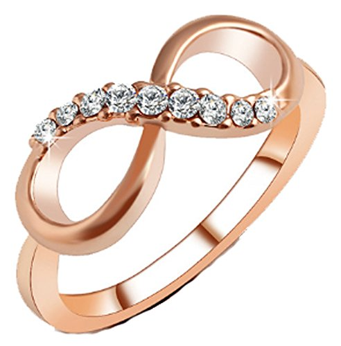SaySure - Alloy Crystal Rings gold Color Infinity Ring (SIZE : 8)