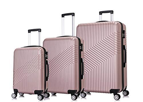 Frentree Hartschalen-Koffer 02 | Trolley Reisekoffer Handgepäck mit 4 Rollen M-L-XL-Set zum Auswahl, Koffer Standard Farbe:Rosa Gold, Koffer Standard Größe:Set(3Teilig)
