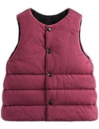 YueLian Bebés Niños Niñas Invierno Novedad Estilo Coreano Muy Suave Manta Chaquetas sin Mangas Chaleco de Algodón Infantil Gilet Vest Rojo & Negro