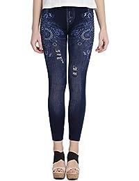 36bf423f2614a CAMEY Women's Girl's Printed Denim Jegging/Legging (LT32_N.CRISS, Blue, Free