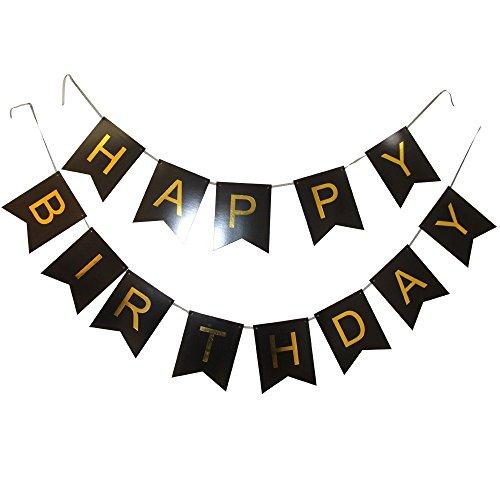 Perfection weiß, pink, grün, violett, schwarz und gold Wimpelkette Banner Happy Birthday, Geburtstagsdeko, Wimpelkette, Geburtstags-Banner schwarz
