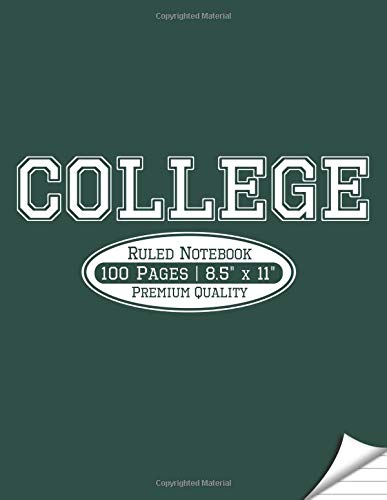 College Ruled Notebook: Green and White Colors: Large Size, Blank Notebook for College Students