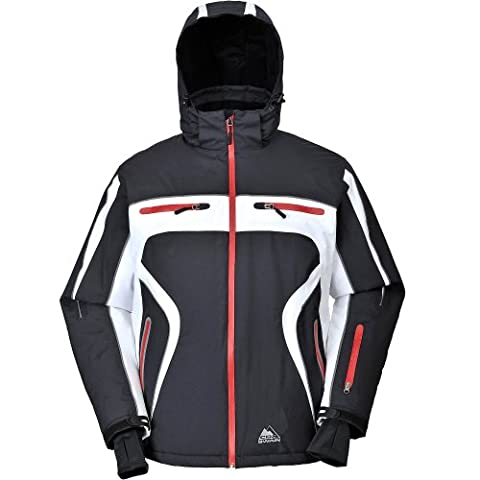 COX SWAIN TITANIUM Men 3-Layer Ski & Snowboard Jacket Finley with RECCO and 15.000mm waterproof, Colour: Black/White - red zipper, Size: L