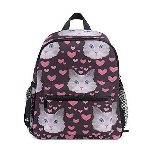 CPYang Kinder-Rucksack mit Tier- und Katzen-Motiv, Valentinstag, Schultasche, Kindergarten, Kleinkinder, Vorschulrucksack für Jungen und Mädchen