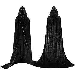 shafier Largo Capa Vampiro Diablo con Capucha Terciopelo Disfraz de Halloween para Mujeres Hombres Carnaval Fiesta Disfraces Talla Unica (Negro)