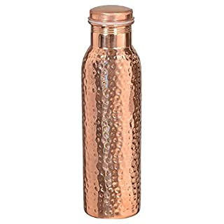 Artncraft Hammered Copper Stylish Q7 Bottle Joint Free with Ayurvedic benefited 100% Pure & Leak Proof Bottle (Copper Ab)