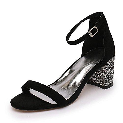 SUHANG Sandales Sangle À Fente Rosée Sauvage Femme Sandales Chaussures-亮 Épais avec Les Chaussures À Talons Hauts Chaussures Femmes
