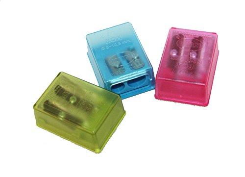 220117 3x Doppelspitzer für Etuis Schulspitzer in 3 Farben für Schüleretui Schul Spitzer doppelt im 3er Spar Set