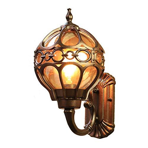 Außenleuchte Wandleuchte Vintage E27 Aluminium und Glasschirm Kugel Laternen Design Wasserdicht IP44 Gartenlampe Außenwandlampe Balkon Flur Garten Galerie Aussenwand-Beleuchtung,Kaffee Gold -