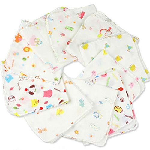 ZLJCC 8 Stücke 23 cm Baby Badetücher Baumwolle Gaze Blumendruck New Born Baby Handtücher Weiche Wasseraufnahme Babypflege Handtuch,