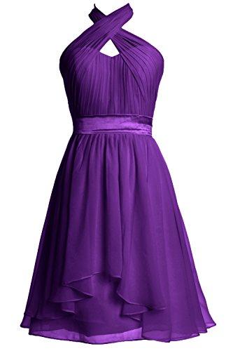 MACloth Women Halter Short Bridesmaid Dress Chiffon Cocktail Party Formal Gown purple