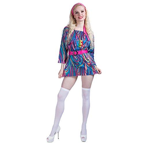 EraSpooky Damen 60er Jahre Groovy Chick Kostüm, Kleid, -