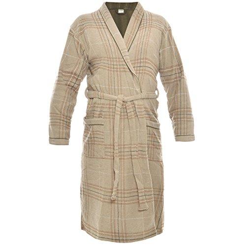 Preisvergleich Produktbild Herren Bademantel Sauna Wellness Morgenmantel Frottee Baumwolle mit Gürtel 21262, Farbe:Braun;Größe:2XL
