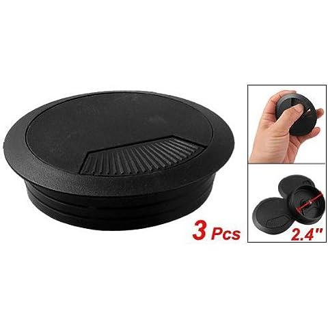SODIAL(R) 3 pz passacavo in plastica nera per scrivania diametro