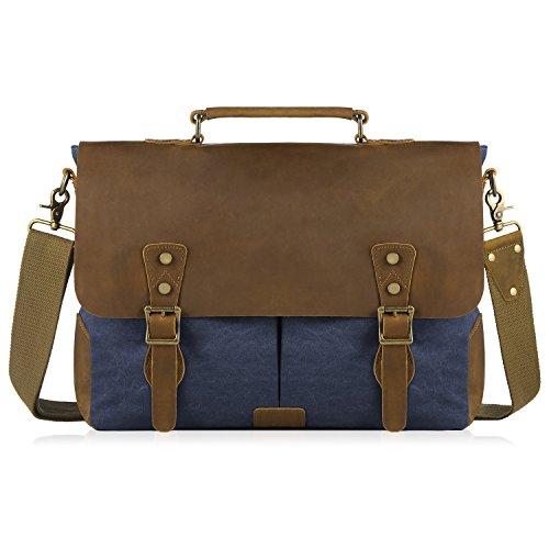 SMRITI Vintage 16 Zoll Leder Umhängetasche Messenger bag für Notebook Dicker Ordner - Blau 2 Blau