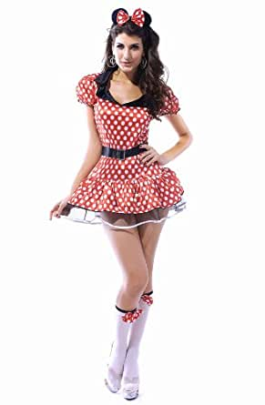 New 3 Piece Miss Mickey Mouse Fairytale Fantasy Fancy Dress Costume Set
