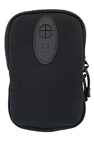 Gürteltasche Hüfttasche Neopren zwei Fächer leicht ideal für Smartphone Handy oder Kompaktkamera Schwarz mit Karabiner und (Duo Handys)