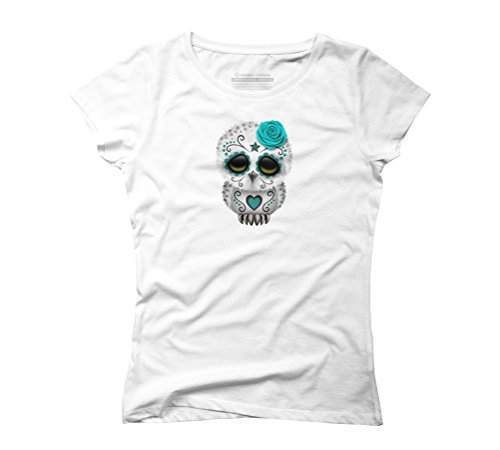 Cute Blue Day of the Dead Sugar Skull Owl Women's Graphic T-Shirt - Design By Humans White