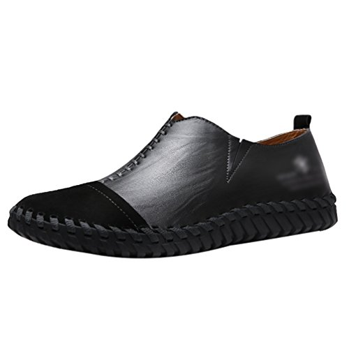 Yiiquan Homme Mode Coutures PU Cuir Sneakers Low-Top Chaussures Décontractées Slip on Loafers Noir